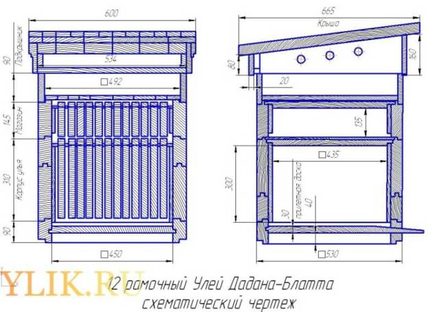 Размеры улья дадан на 12 рамок: чертеж, из чего состоит, выбор материала, как сделать